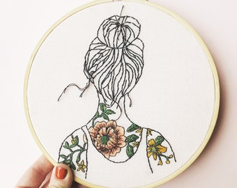 Modern Embroidery Kit Tattooed Shoulders with Pattern Eco-Friendly - Sustainable, Modern Needle craft Kit, Hand Embroidery Kit.