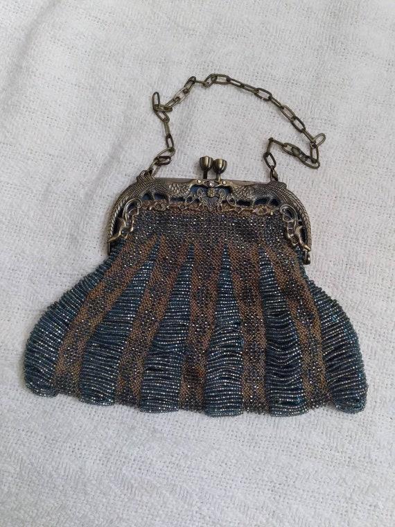 Beaded handbag brown and blue peacock handle