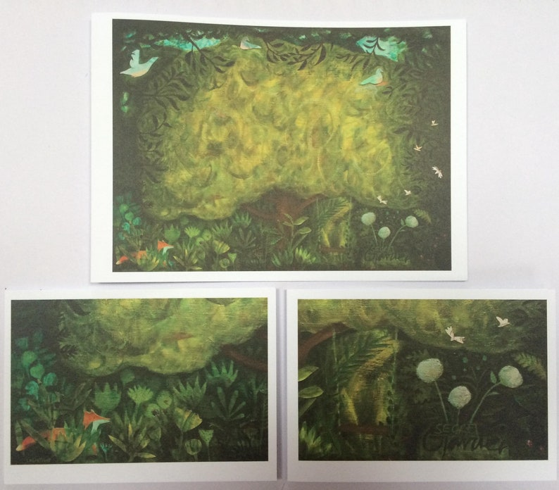 Pack of 3 'Secret Garden' cards mixed sizes image 0
