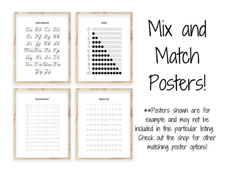 Classroom D\u00e9cor Black ABC Print Gift for Kids Homeschool English Print Alphabet Handwriting Poster