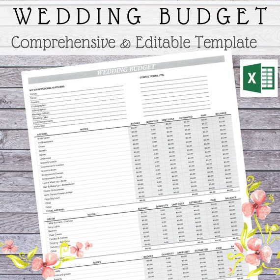 Wedding Budget Template Wedding Budget Budget Template Etsy
