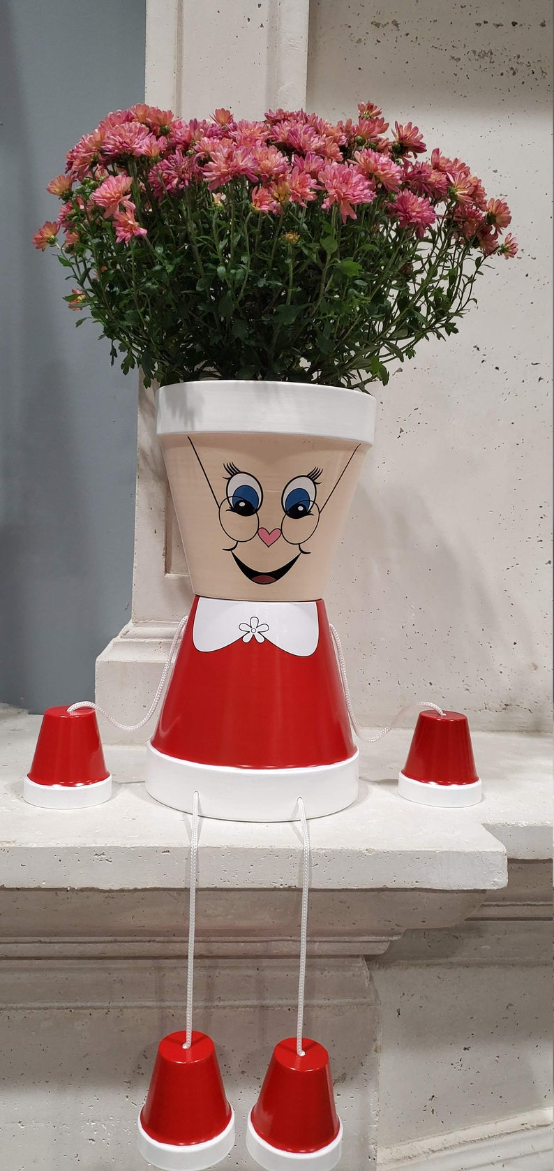 Christmas Mrs Claus flower pot people home decoration high image 0