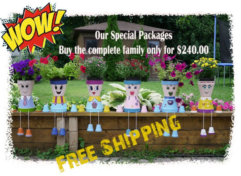Flower pot peopleComplete Family high quality image 0