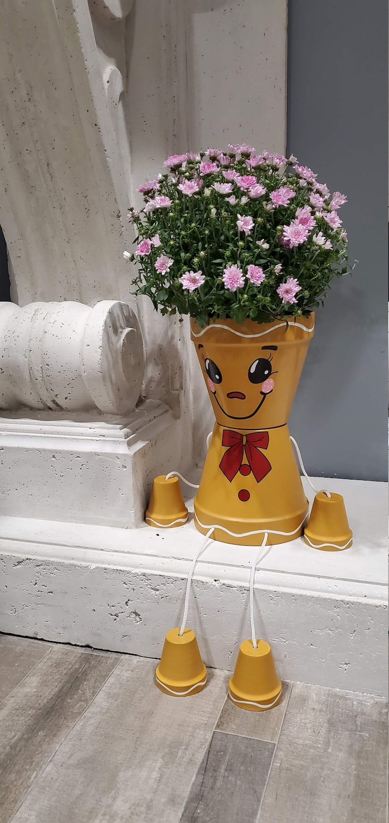 Christmas Gingerbread Man flower pot people home decoration image 0