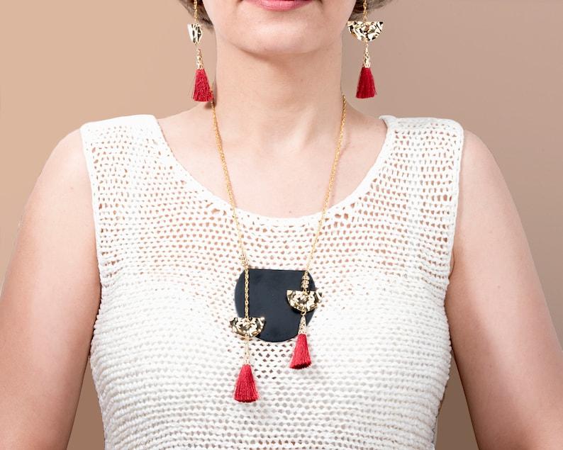 Tassel NecklaceBohemian NecklaceBlack NecklaceRed Tassel NecklaceGeometrical NecklaceBoho NecklaceModern Set JewelryValentine/'s Gift