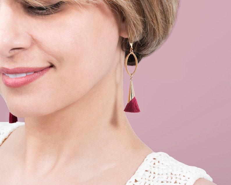 Red Tassel EarringsGold Oval EarringsGold Stud EarringsBoho earringsPost Earrings for WomenModern Set Jewelryboho SetGift for Her