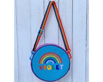 Girl's round rainbow multicoloured handbag, can be personalised, perfect birthday gift, Christmas gift