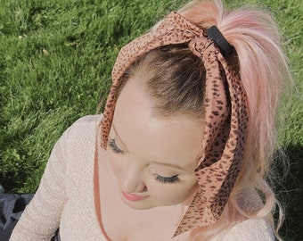 pink hair scarf with tie