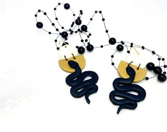 Gold Serpent Polymer Clay Earrings