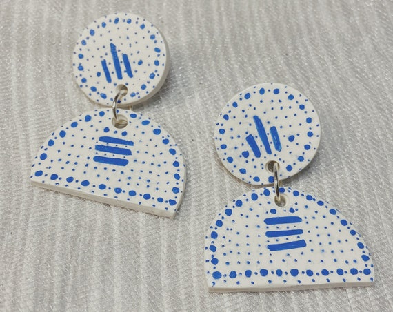 Blue China Polymer Clay Earrings