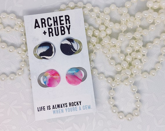Two Pack of Studs - Polymer Clay Earrings