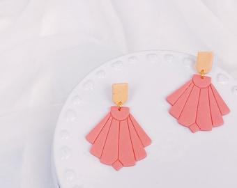 Peach+Blush Art Deco Dangles
