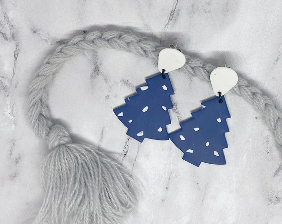 Blue + White Polka Dot Polymer Clay Earrings