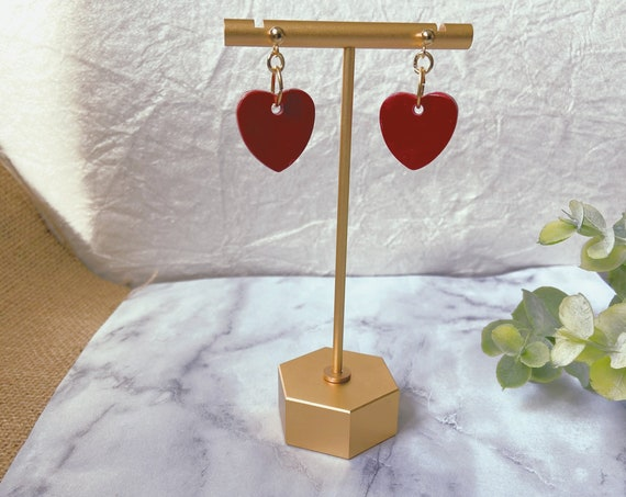 Deep Red and Gold Minimalist Heart Earrings | Nickel Free