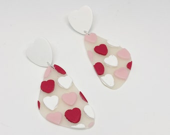 Pink and Red Hearts Polymer Clay Earrings
