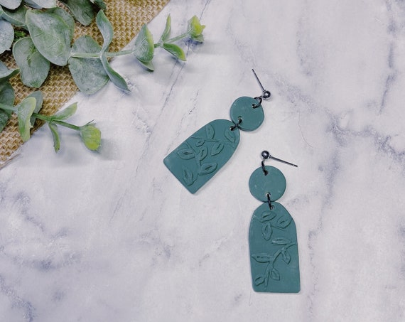 Poison Ivy Vine Polymer Clay Earrings