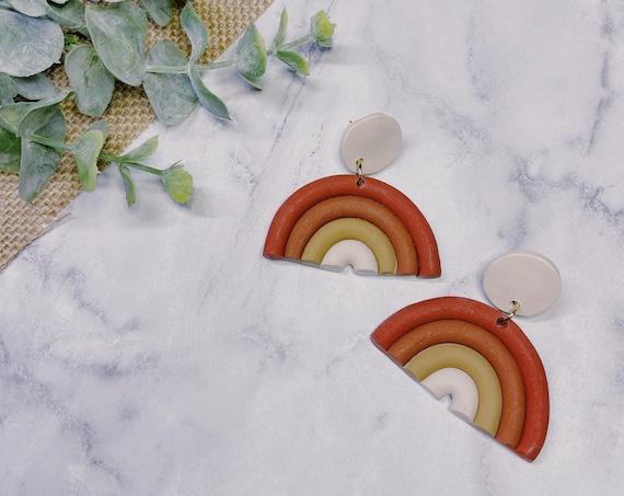 Warm Gradient Rainbow Arch Earrings   Nickel Free