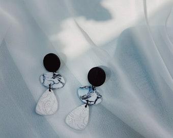 White and Black Marble Dangle Earrings
