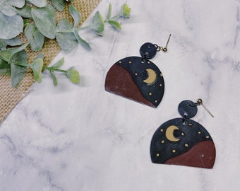 Desert Moon Sky Polymer Clay Earrings