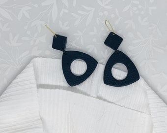 Textured Black Geometric Polymer Clay Earrings