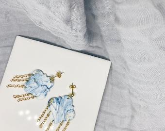 Blue Howlite Polymer Clay Earrings
