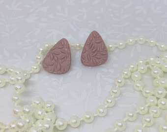 Mauve Textured Studs Polymer Clay Earrings