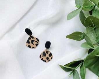Leopard Print Dangle Earrings