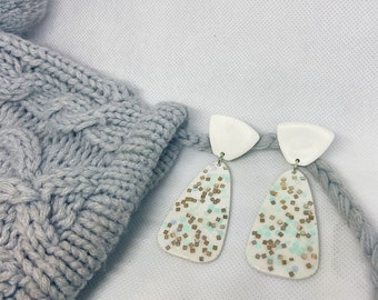 White Glitter Polymer Clay Earrings