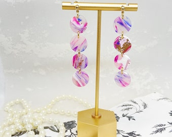 Blush Marble Dangle Polymer Clay Earrings
