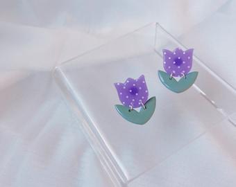 Purple Tulip Studs