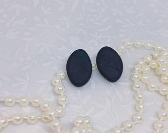Black Daisy Studs Polymer Clay Earrings