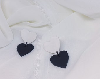 Black & White Hearts Polymer Clay Earrings