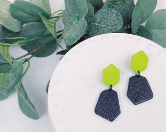 Lime Green Sparkle Dangles