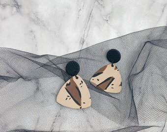 Leopard Print Geometric Polymer Clay Earrings