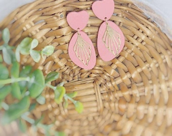 Blush Heart with Gold Accent Polymer Clay Earrings