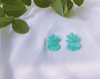 Abstract Faux Jade Studs