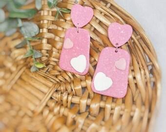 Opal Hearts Polymer Clay Earrings