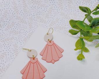 Peach Art Deco   Polymer Clay Earrings
