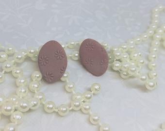 Mauve Daisy Studs Polymer Clay Earrings