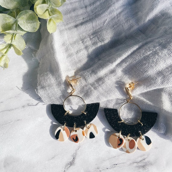 Black and Gold Art Deco Polymer Clay Earrings