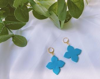 Turquoise Flower Mini Hoops - Large