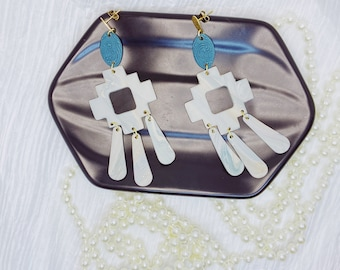 Teal and Beige Aztec   Polymer Clay Earrings