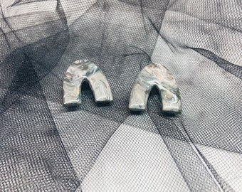 Shades of Gray Marbled Polymer Clay Earrings