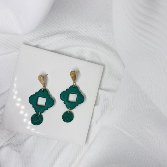 Emerald and Gold Polymer Clay Earrings