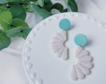Teal and White Daisy Dangles