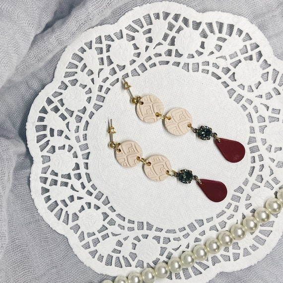 Dainty Merlot Polymer Clay Earrings