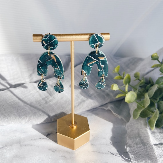 Teal, White, and Gold Mosaic Polymer Clay Earrings