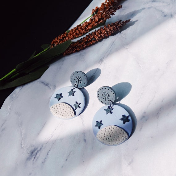 Periwinkle Lunar Landing Polymer Clay Earrings