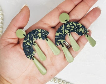 Olive Green Black Lace Polymer Clay Earrings