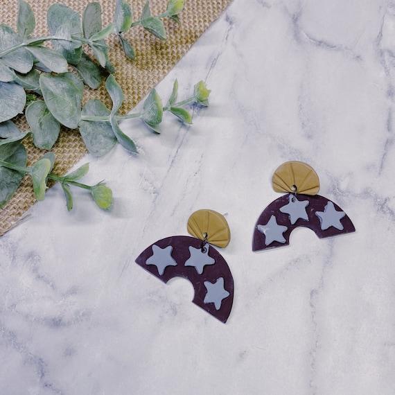 Autumn Star Polymer Clay Earrings